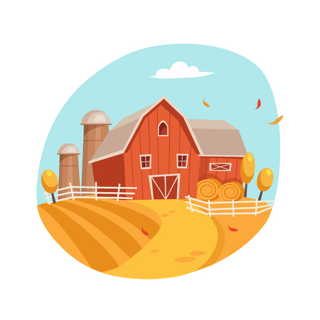 farm field: Autumn Scenery With House And Barn On The Field, Farm And Farming Related Illustration In Bright Cartoon Style