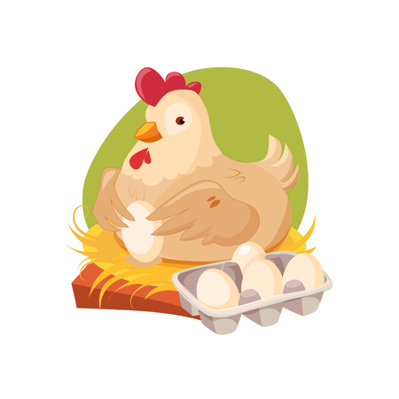 nest egg: Chicken Nesting Laying Fresh Eggs, Farm And Farming Related Illustration In Bright Cartoon Style