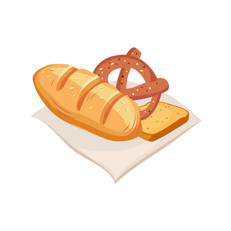 freshly: Freshly Baked Bread, Pretzel And Toast, Farm And Farming Related Illustration In Bright Cartoon Style Illustration