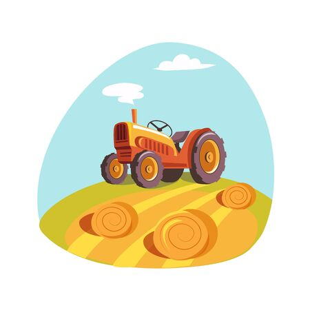 hay field: Tractor Standing On The Field With Hay Stacks, Farm And Farming Related Illustration In Bright Cartoon Style Illustration