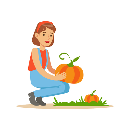 professionally: Woman Harvesting Pumpkins, Farmer Working At The Farm And Selling On Natural Organic Product Market. Cartoon Happpy Character Growing Crops And Animals Professionally Vector Illustration.