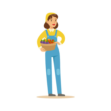 professionally: Woman Wirh Basket Of Fresh Vegetables, Farmer Working At The Farm And Selling On Natural Organic Product Market. Cartoon Happpy Character Growing Crops And Animals Professionally Vector Illustration. Illustration