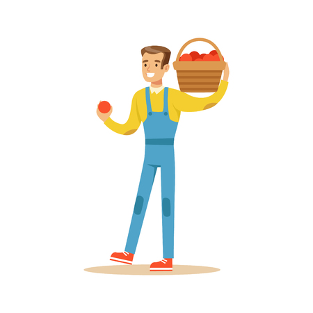 professionally: Man With Basket Of Fresh Apples, Farmer Working At The Farm And Selling On Natural Organic Product Market. Cartoon Happpy Character Growing Crops And Animals Professionally Vector Illustration.