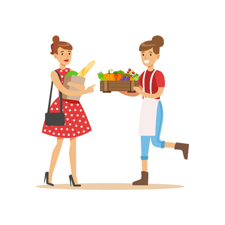 Vendor Bringing Crate Of Vegetables To Buyer, Farmer Working At The Farm And Selling On Natural Organic Product Market. Cartoon Happpy Character Growing Crops And Animals Professionally Vector Illustration.