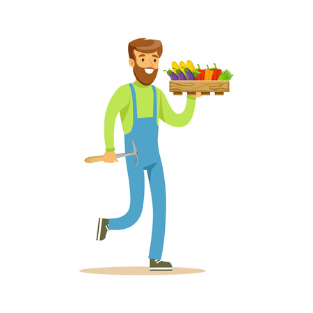 Man With Chopper And Crate Of Fresh Vegetables, Farmer Working At The Farm And Selling On Natural Organic Product Market. Cartoon Happpy Character Growing Crops And Animals Professionally Vector Illustration.