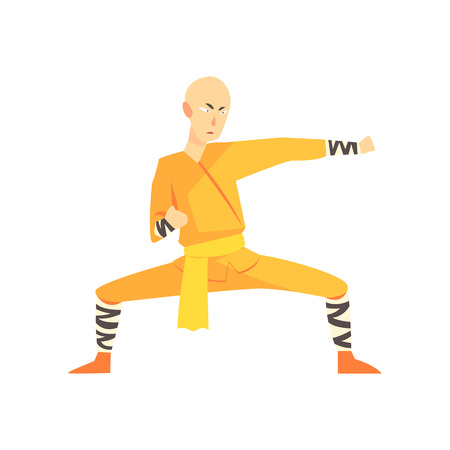 in monastery: Bold Asian Shaolin Monk Kung Fu Martial Arts Fighter, Fighting Sports Professional In Traditional Fighting Sportive Clothing
