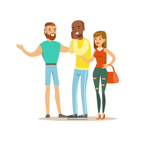 third wheel: Happy Three Best Friends Having Good Time Together, Part Of Friendship Illustration Series