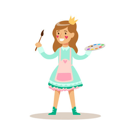 having fun: Girl Painter With Paint Wearing A Crown, Children In Costume Party Illustration With Happy Smiling Kid At Festival Celebration