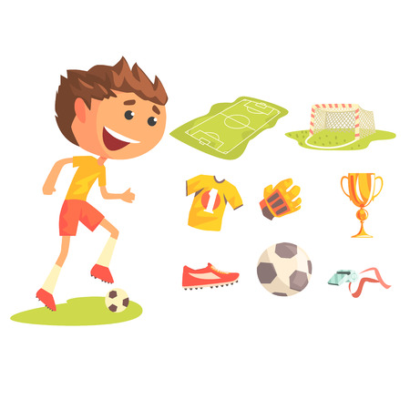 Boy Soccer Football Player, Kids Future Dream Professional Sportive Career Illustration With Related To Profession Objects