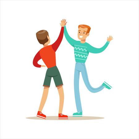 Melhores amigos felizes dando uns aos outros Cinco altos, parte da série de ilustração da amizade Ilustração