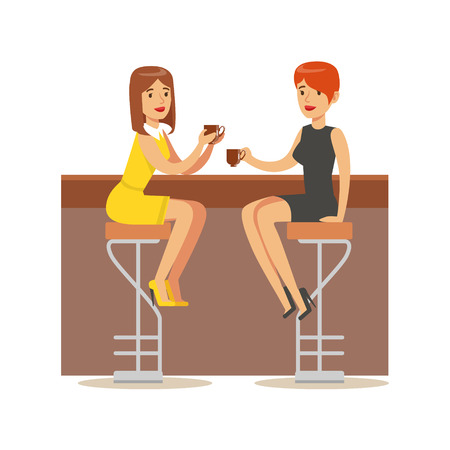 night out: Happy Best Friends Catching Up In bar , Part Of Friendship Illustration Series