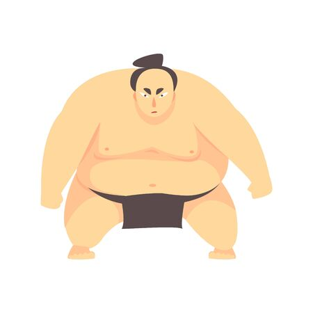 Japanese Fat Sumo Martial Arts Fighter, Fighting Sports Professional In Traditional Fighting Sportive Clothing