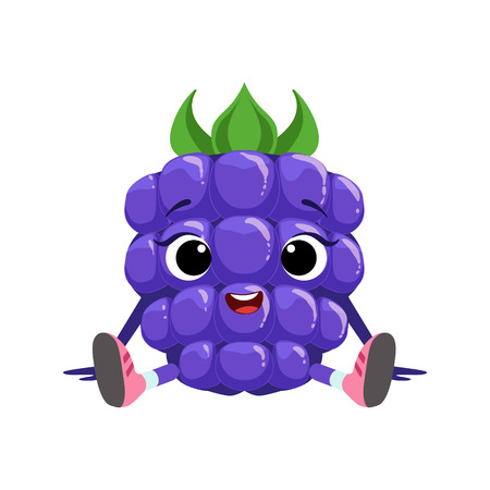 Big Eyed Cute Girly Blackberry Character Sitting, Emoji Sticker With Baby Berry Vector Illustration