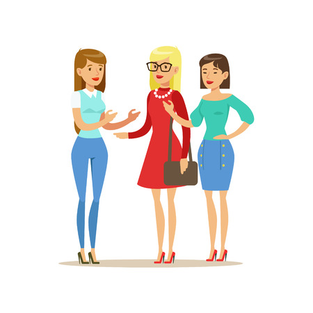 Happy Three Girls Best Friends Talking, Part Of Friendship Illustration Series