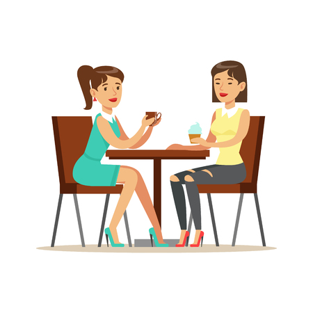 Happy Best Friends Drinking Coffee In Cafe, Part Of Friendship Illustration Series Illustration