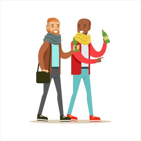 Happy Best Friends Having A Drink After Work , Part Of Friendship Illustration Series Illustration