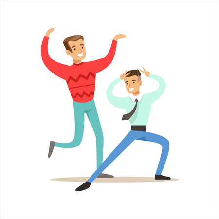 night club series: Happy Best Friends Dancing In Night Club Party , Part Of Friendship Illustration Series