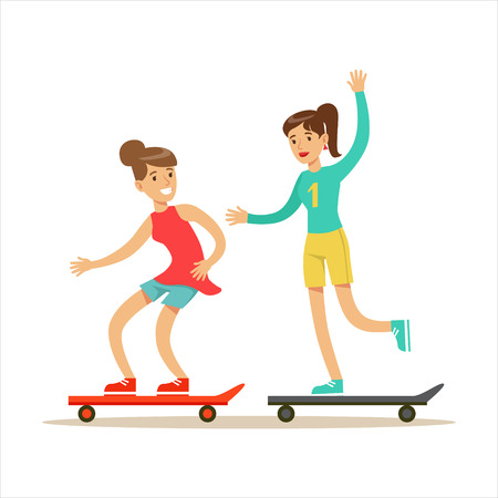 Happy Best Friends Riding Skateboards Together, Part Of Friendship Illustration Series Illustration
