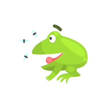 Happy Green Frog Funny Character Looking At Insects Childish Cartoon Illustration Illustration