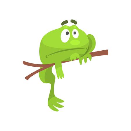 Sad Green Frog Funny Character Hanging From The Branch Childish Cartoon Illustration Illustration