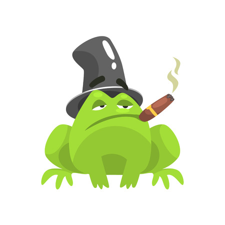 Green Frog Funny Character With Top Hat And Cuban Cigar Childish Cartoon Illustration Illustration