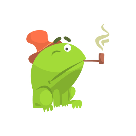 Green Frog Funny Character Smoking Pipe Childish Cartoon Illustration Illustration