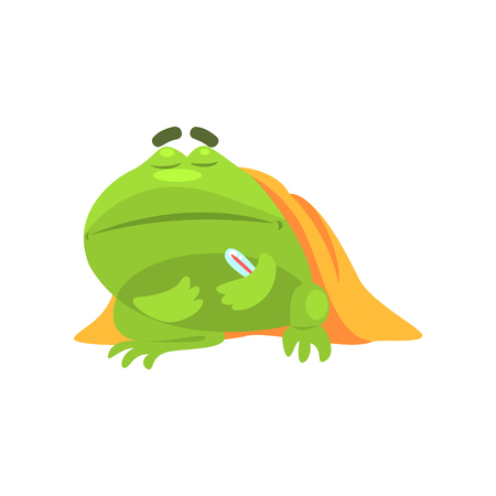 Sick Green Frog Funny Character With Blanket And Thermometer Childish Cartoon Illustration