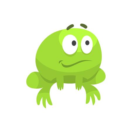 hopeful: Smiling Hopeful Big-Eyed Green Frog Funny Character Childish Cartoon Illustration Illustration