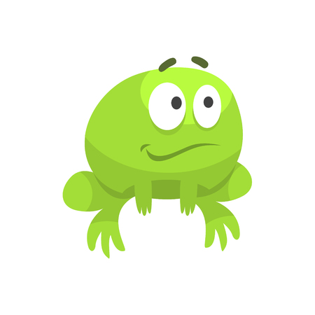 Smiling Hopeful Big-Eyed Green Frog Funny Character Childish Cartoon Illustration Illustration