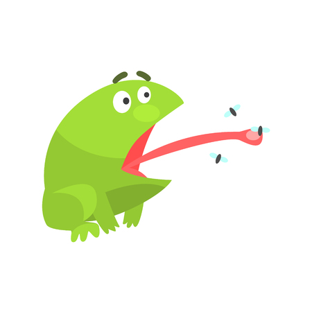 Green Frog Funny Character Catching Flies With Its Tongue Childish Cartoon Illustration