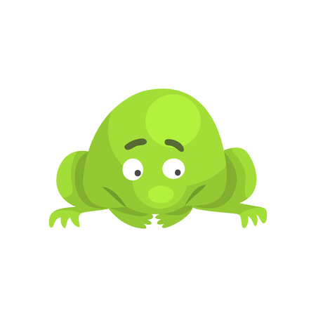 Upset Green Frog Funny Character Childish Cartoon Illustration Illustration