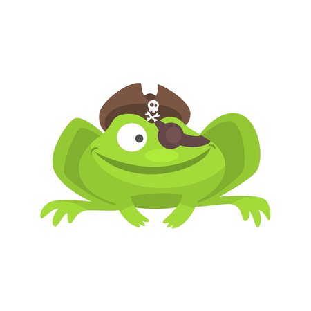Green Frog Funny Character With Pirate Hat And Eye Patch Smiling Childish Cartoon Illustration Illustration