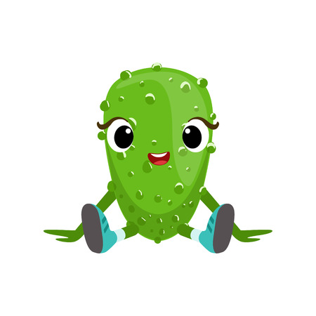 Big Eyed Cute Girly Cucumber Character Sitting, Emoji Sticker With Baby Vegetable Illustration