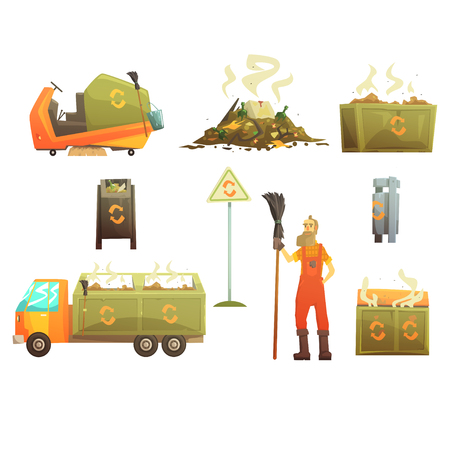 Waste Recycling And Disposal Related Object Around Garbage Collector Man Set Of Cartoon Bright Icons Illustration