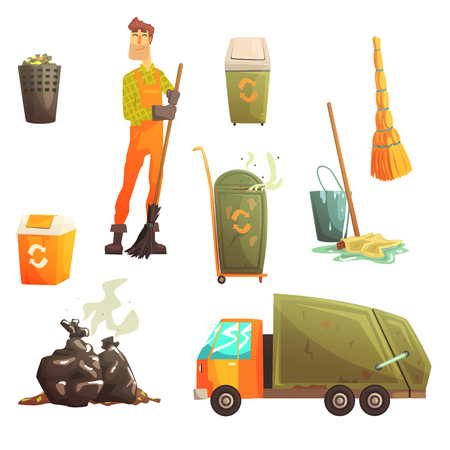 recolector de basura: Waste Recycling And Disposal Related Object Around Garbage Collector Man Collection Of Cartoon Bright Icons