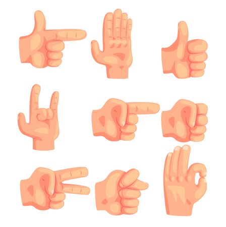 Conceptual Popular Hand Gestures Set Of Realistic Isolated Icons With Human Palm Signaling Illustration