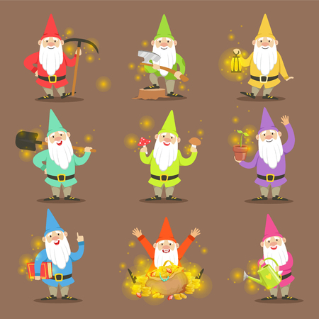 Classic Garden Gnomes In Colorful Outfits Set Of Cartoon Characters Different Situations Stock Vector - 69437120