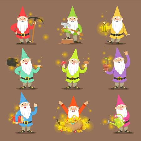 Classic tuinkabouters In Kleurrijke Outfits Set stripfiguren verschillende situaties Stock Illustratie