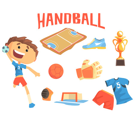terrain de handball: Boy Handball Player, Kids Future Dream Professional Sportive Career Illustration avec des objets professionnels