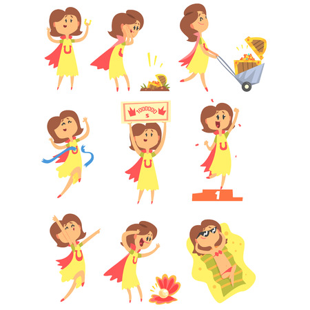 Lucky Woman Having Good Luck And Sudden Stroke Of Fortune Series Of Comic Vector Illustrations