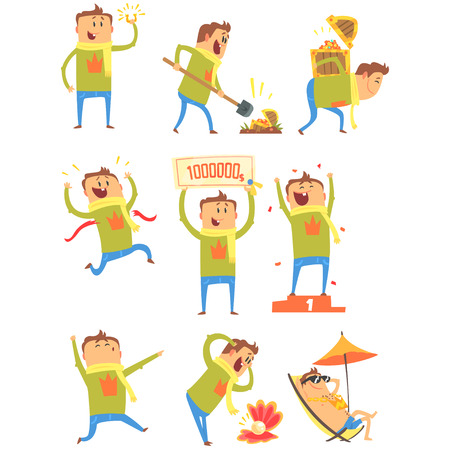 Lucky Man Having Good Luck And Sudden Stroke Of Fortune Series Of Comic Vector Illustrations Vettoriali