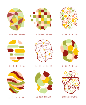 Thinking Inside Human Head Different Geometric Abstract Design Icons Vektorové ilustrace