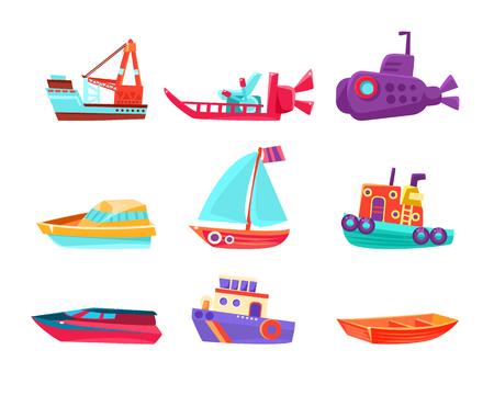 Water Transport Toy Boats Set Illustration