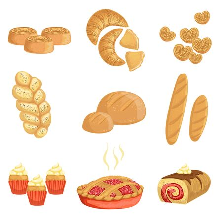Pastry And Bread Bakery Assortment Set Of Isolated Icons Stok Fotoğraf - 70363127