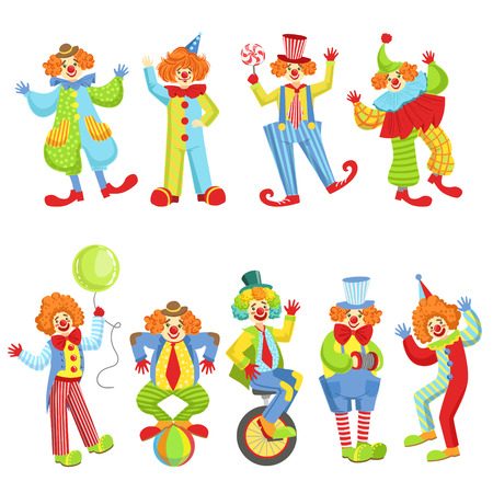 Set Of Colorful Friendly Clowns In Classic Outfits Illustration