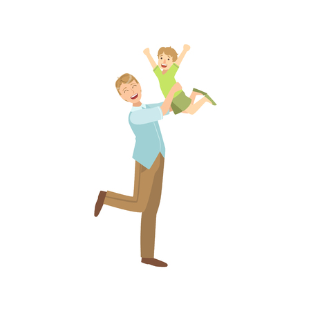 throwing: Father Throwing The Son In The Air Illustration