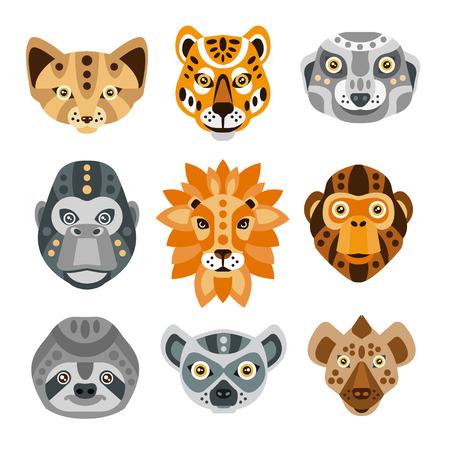 meer: African Animals Stylized Geometric Heads Set