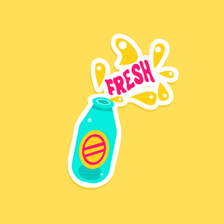 inspired: Bottle With Fresh Drink Bright Color Summer Inspired Sticker  Text Illustration