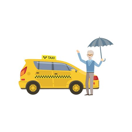 simplified: Old Man With Umbrella Signaling To Yellow Taxi Car