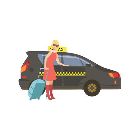 Woman With Suitcase Entering Black Taxi Car Stock Photo